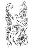 птицы 2 Трава каллиграфии завихряясь, цветки, засаживает элементы Стоковое фото RF