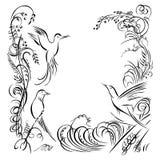 3 птицы Трава каллиграфии завихряясь, цветки, засаживает элемент Стоковая Фотография RF