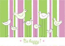 Птицы шаржа на striped предпосылке, счастливый текст, горизонтальный, вектор Стоковые Изображения