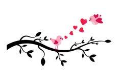 Птицы любовника на ветви дерева - иллюстрации Стоковые Фотографии RF
