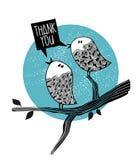 2 птицы doodle на дереве Стоковые Изображения RF