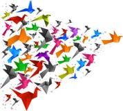 Птицы Origami летая 2 иллюстрация вектора
