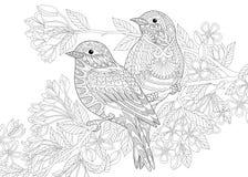 Птицы Zentangle стилизованные 2 иллюстрация вектора