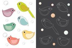 птиц иллюстрация детей персонажей из мультфильма цветастая графическая также вектор иллюстрации притяжки corel Стоковые Фотографии RF