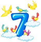 7 птиц на номере иллюстрация вектора