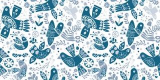 Птиц рождества вектора картина фольклорных голубых безшовная бесплатная иллюстрация