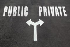 Публика против частной отборной концепции стоковые фото