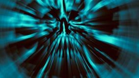 Пугающая голубая голова демона с сорванным черепом Иллюстрация в жанре ужаса Стоковое фото RF