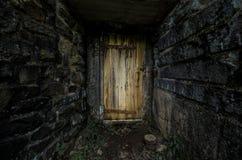 Пугающая деревянная дверь Стоковое Изображение