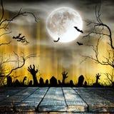 Пугающая предпосылка хеллоуина с старыми силуэтами деревьев стоковое изображение rf