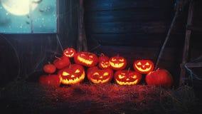Пугающая предпосылка halloween страшная тыква с горя глазами и Стоковое Фото