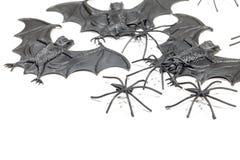 Пугающие игрушки летучей мыши и паука вампира пластичные Фокус или tre новизны стоковое изображение rf