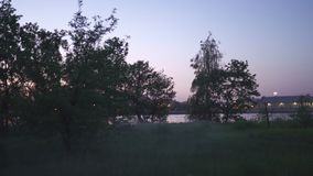 Пугающий выравниваясь туман в парк городе Риги, Латвии с яркими цветами пинком захода солнца и фиолетовым на заднем плане и страш сток-видео