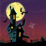 Пугающий старый дом призрака Плакат карточки хеллоуина также вектор иллюстрации притяжки corel стоковое фото rf