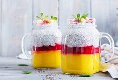 Пудинг семени Chia в опарнике с манго завтрак здоровый стоковое фото rf