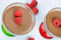 пудинг чашки шоколада домодельный Стоковое Фото