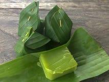 Пудинг черного кокоса сладостный десерт Таиланда стоковое фото