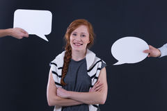 Пузыри женщины и речи Стоковое Изображение RF