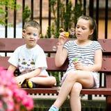 Пузыри мыла девушки и мальчика дуя Стоковое фото RF