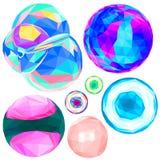 Пузыри потехи установленные в низкий поли стиль Иллюстрация штока