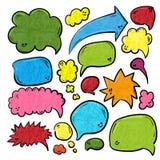 Пузыри речи или мысли различных форм и размеров Нарисованная рукой иллюстрация вектора doodle шаржа стоковая фотография