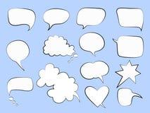 Пузыри речи на голубом backgroung иллюстрация штока