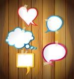Пузыри речи на деревянной предпосылке Иллюстрация штока