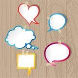 Пузыри речи на деревянной текстуре Стоковое Фото