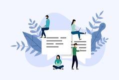 Пузыри сообщения беседуют, беседовать людей онлайн, концепция дела иллюстрация штока