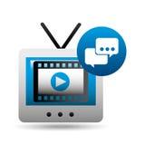 Пузырь видео-плейер говорит значки ТВ Стоковые Изображения