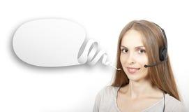Пузырь женщины и речи центра телефонного обслуживания Стоковое фото RF