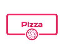 Пузырь диалога шаблона пиццы в плоском стиле на белой предпосылке Проштемпелюйте с значком пиццы для различного слова, к меню век Стоковая Фотография RF