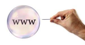 Пузырь интернета около, который будет взрывать игла стоковая фотография rf