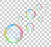 Пузырь мыла радуги на прозрачной предпосылке также вектор иллюстрации притяжки corel иллюстрация штока