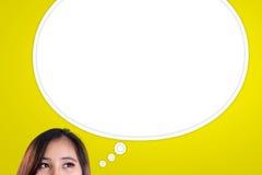 Пузырь мысли женщины стоковые изображения rf