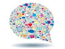 Пузырь мысли и социальные средства массовой информации Стоковая Фотография