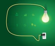 Пузырь речи вектора с дизайном электрической лампочки современным бесплатная иллюстрация