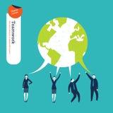 Пузырь речи мира сделанный от диалога предпринимателей Стоковое Изображение RF