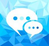 Пузырь речи над предпосылкой тона битника голубой Стоковое фото RF