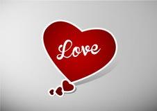 Пузырь речи сердца валентинки с белым текстом влюбленности Стоковые Изображения RF