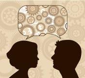Пузырь речи с мужскими и женскими профилями Стоковое фото RF