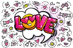 Пузырь слова влюбленности иллюстрация штока