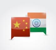 Пузырь сообщения Китая и Индии бесплатная иллюстрация