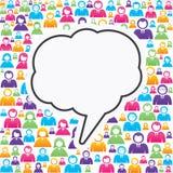 Пузырь сообщения с в группой людей бесплатная иллюстрация