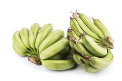2 пука сладостного органического зеленого банана на белой предпосылке Стоковая Фотография RF