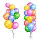 Пуки красочных воздушных шаров гелия изолированных на белой предпосылке Стоковая Фотография