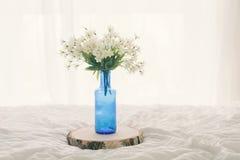 Пук белых цветков в цветочном горшке бутылки синего стекла на кровати Стоковое Фото