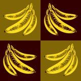 Пук вектора картины желтого цвета бананов плоской Стоковые Изображения
