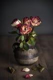 Пук вянуть роз в вазе Стоковое Изображение RF
