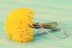Пук желтых цветков одуванчика связанных с веревочкой Стоковые Изображения RF